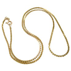 """14K Yellow Gold 15"""" 1.5mm Serpentine Chain Necklace"""