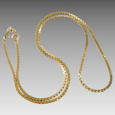 "14K Yellow Gold 15"" 1.5mm Serpentine Chain Necklace"