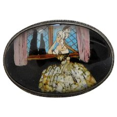 Vintage Shipton Sterling Silver Gold Leaf, Opal Fleck & Morpho Butterfly Wing Hand-Painted Brooch
