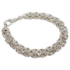 "Vintage Italian Milor Sterling Silver Byzantine Link Bracelet, 7 3/8"" Long."
