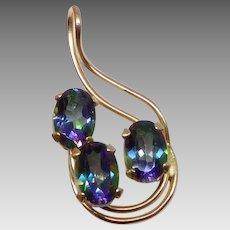 Vintage 1990s 14K Gold Mystic Topaz Necklace Pendant