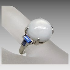 Vintage Art Deco Natural White Star Sapphire & Blue Sapphire Platinum Ring, Size 5