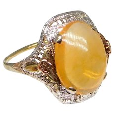 Vintage 10K Gold Filigree Art Deco Ring with Orange Mexican Fire Jelly Opal, Size 5
