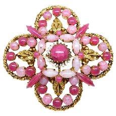 Vintage Pink Cranberry Art Glass Designer Maltese Cross Brooch, circa 1960s