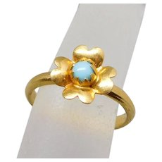 Antique Victorian 18K Gold & Turquoise Flower Pinky Ring, Size 2 1/4