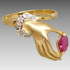 Vintage Victorian Revival 14K Gold Diamond & Ruby Hand Ring, Size 6 1/2
