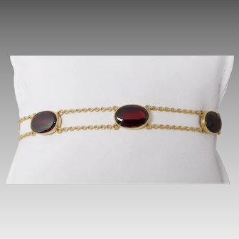 Antique Victorian 14K Gold & Garnet Link Bracelet