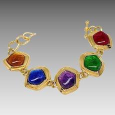 Vintage KJL for Avon Gold Plated Caprianti Lucite Link Bracelet