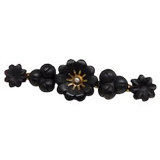 Antique Victorian 10K Gold Jet-Color Black Glass Flower & Seed Pearl Mourning Brooch