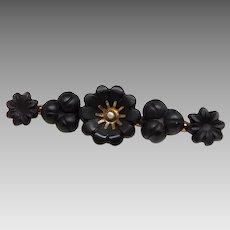 Antique Victorian 10K Gold Jet-Color Black Glass Flower & Seed Pearl Mourning Brooch
