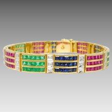 Estate 18K Yellow Gold Diamond, Emerald, Ruby & Sapphire Tennis Bracelet