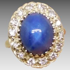 Vintage 14K Gold Star Sapphire & Diamond Ring, Size 3 1/4