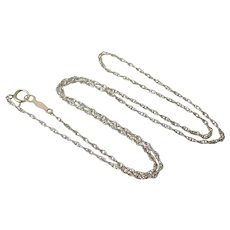 "Vintage 14K White Gold Rope Chain 14.5"" Necklace"