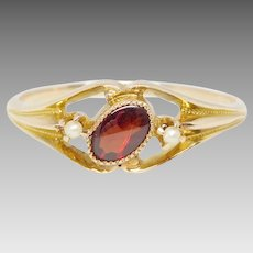 Antique Victorian 14K Gold Garnet & Seed Pearl Ring, Size 8