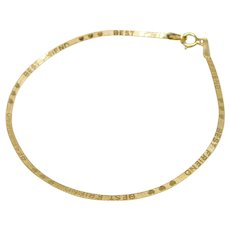Vintage 14K Gold Best Friends Herringbone Reversible Bracelet.