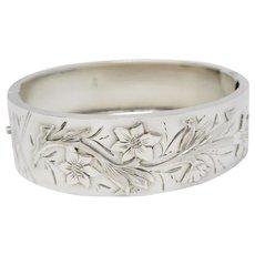 Antique Victorian Sterling Silver Chased Floral Bangle Bracelet.
