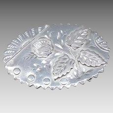 Antique Victorian Sterling Silver Chased Rose Brooch