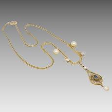 Antique Victorian 14K Gold Diamond Pearl & Sapphire Pendant Necklace