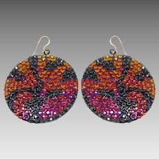 CC Designer Tiger Print Swarovski Crystal Rhinestone Runway Disc Earrings