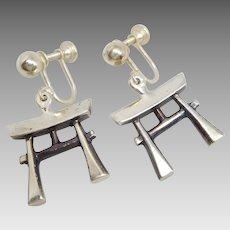 Vintage Mid Century Sterling Silver Japanese Torii Gate Earrings