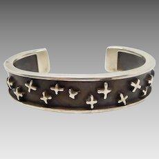Vintage Danish Modern Design Sterling Silver Artist Signed Cuff Bracelet