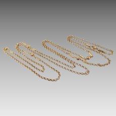 Antique Victorian 10K Solid Rose Gold Sautoir Chatelaine Necklace