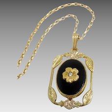 Vintage 1920's 12K Gold Filled & Onyx Flower Necklace