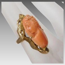 Antique Victorian 14K Gold Salmon Coral Cameo Ring