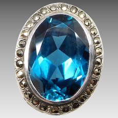 Antique Sterling Silver Faux London Blue Topaz & Marcasite Ring