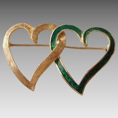 Vintage Chanel 14K Gold Double Heart Green Enamel Brooch
