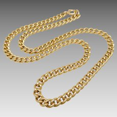 Antique 14K Solid Gold 6mm Heavy 20 Inch Curb Chain Necklace
