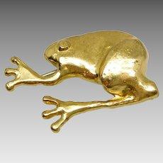 Vintage Anne Dick Gold Plated Brutalist Frog Brooch