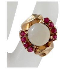 1940's Vintage 10K Gold Moonstone Ruby Cluster Ring