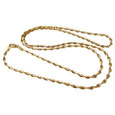 """Vintage Italian 14K Yellow Gold 22"""" Twisted Rope Chain Necklace"""