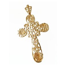 Vintage Ornate 14K Gold Filigree Cross Pendant