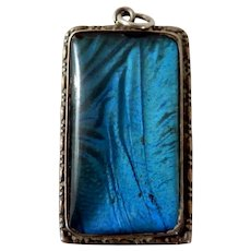 Art Deco Sterling Silver Morpho Butterfly Wing Pendant for Necklace