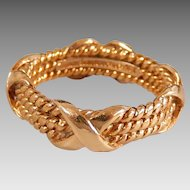 Vintage Estate 18K Solid Yellow Gold Authentic Tiffany & Co. Jean Schlumberger X Cable Band Ring, Size 5 3/4