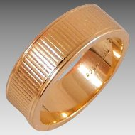 Vintage Estate 18K Solid Yellow Gold Authentic Tiffany & Co. Ribbed Wedding Band Ring, Size 5 1/2