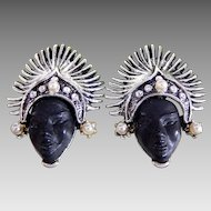 Vintage PAM Silver Tone Thai Dancer Princess Clip-on Earrings