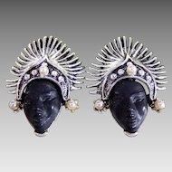**LAST CALL** Vintage PAM Silver Tone Thai Dancer Princess Clip-on Earrings