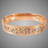 Antique Victorian 14K Gold Taille D'Epargne Bangle Bracelet