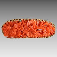 Antique 14K Gold & Carved Natural Salmon Coral Flower Brooch