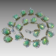 Vintage Henry Schreiner Couture Green Rhinestone & Art Glass Necklace and Earrings Set