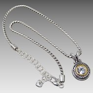 Brighton Silver Tone Crystal Solitaire Necklace w Cable Bezel & Pouch