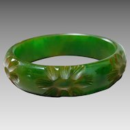 Vintage Mottled Green Bakelite Bangle Bracelet with Deep Carved Flowers