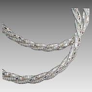 """Milor Italy Sterling Silver Braided Sparkle Snake Chain Necklace, 17"""""""