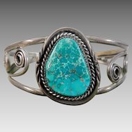 Old Southwest Sterling Silver Native American Turquoise Cuff Bracelet