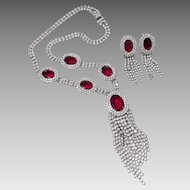 **LAST CALL** Kramer Red Headlight Crystal Necklace & Earrings Set