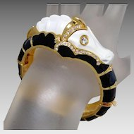 Iconic Kenneth Jay Lane KJL Black & White Seahorse Bracelet