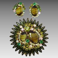 Juliana Green & AB Crystal Rhinestone With Tigers Eye Art Glass  Brooch & Earrings Set